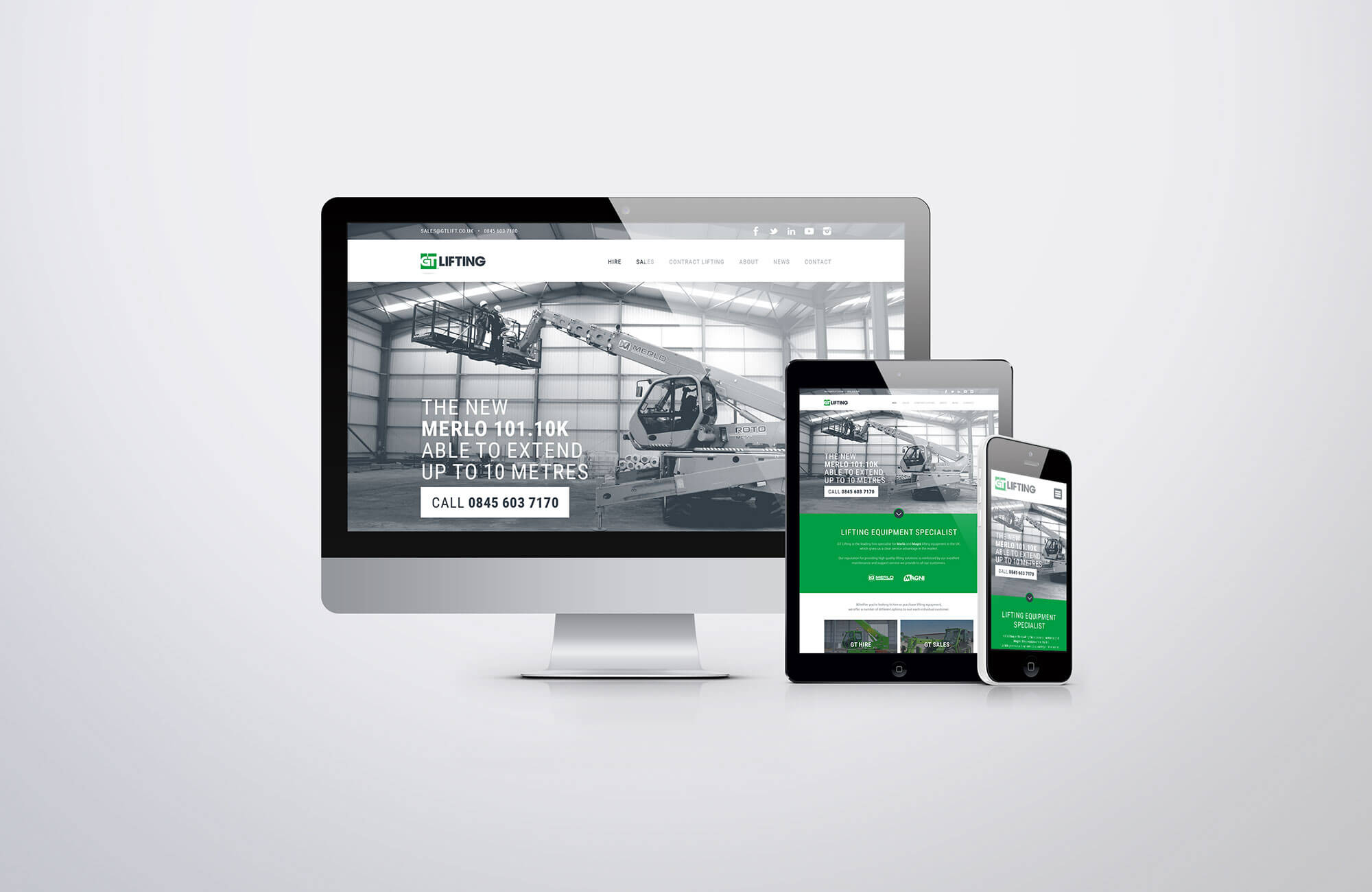 GT Lifting Website Design Visual