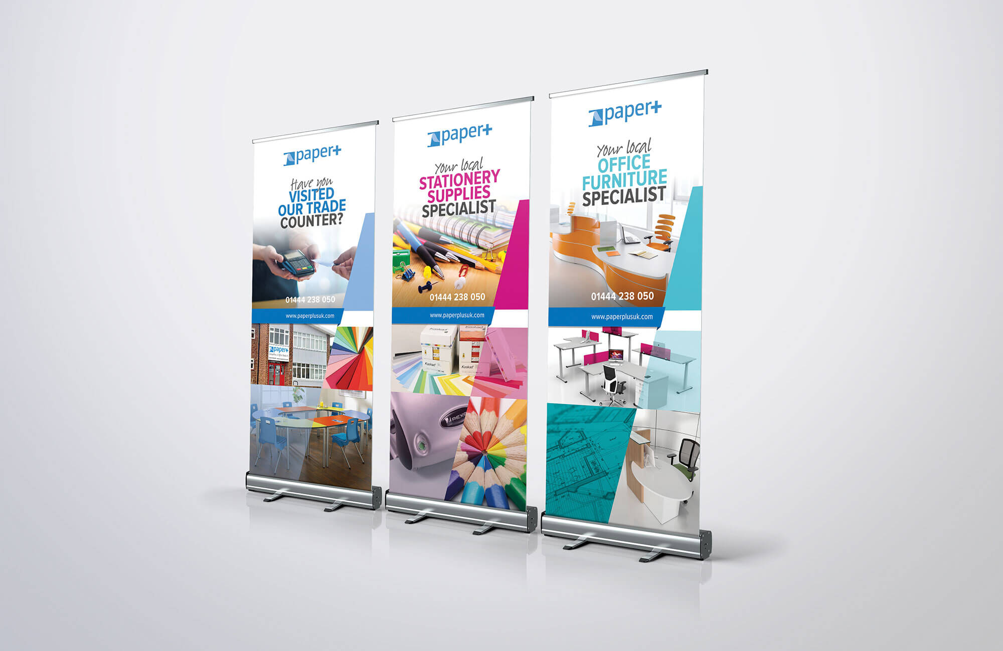 Paper Plus Roller Banners Design Concept