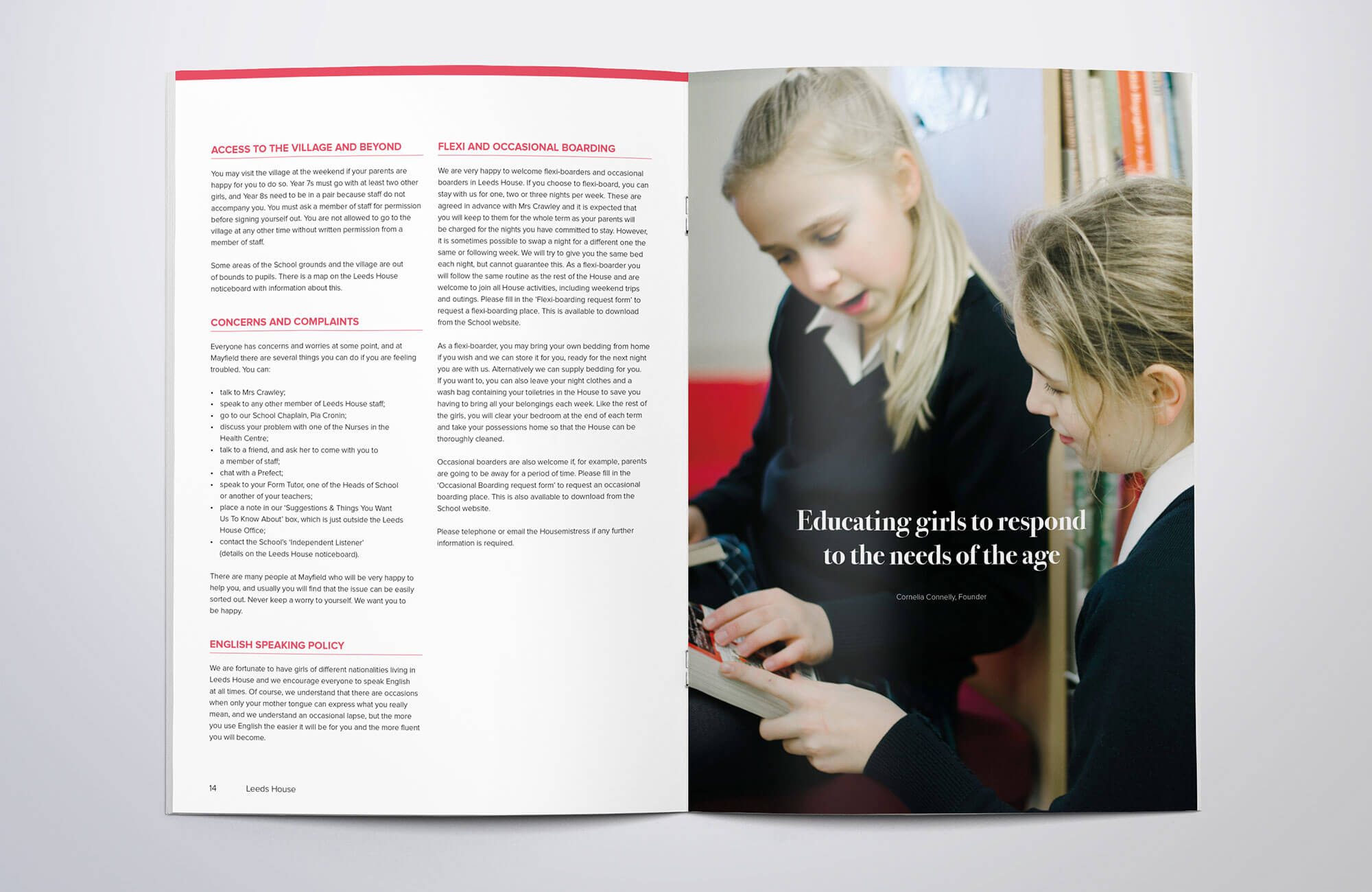 Mayfield School Boarding House Handbook Design