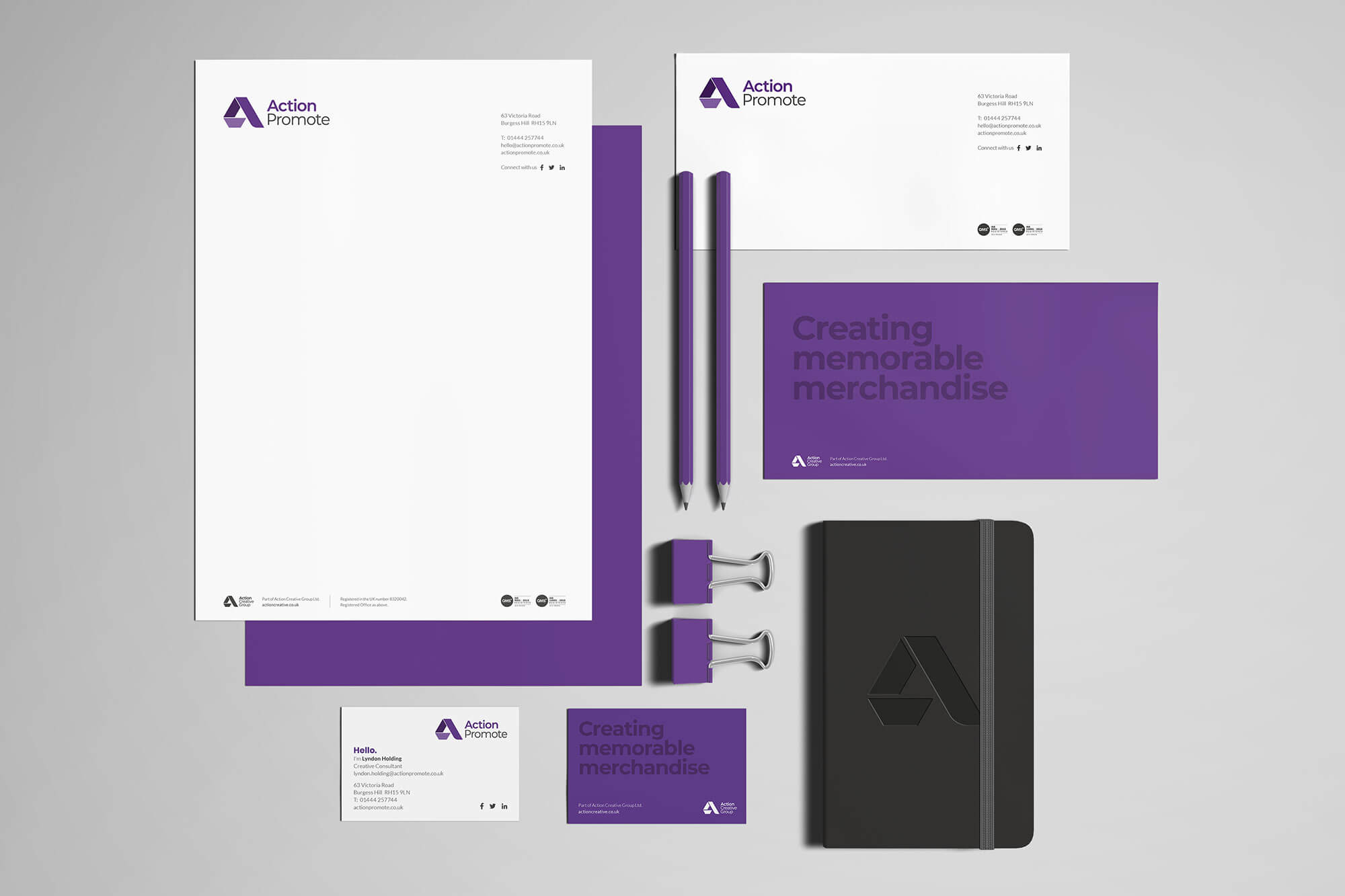 Action Promote Printed Stationery Items Design Concept